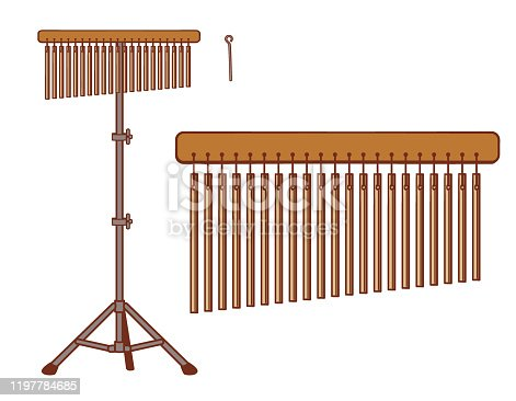 Bar chime instrument isolated on white. Vector illustration.