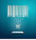 Bar code and ecommerce technology concept