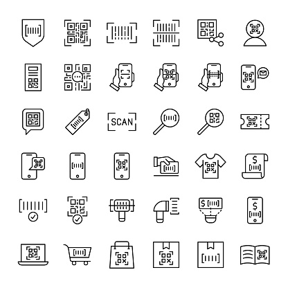 bar code and qr code scaning 36 outline icons