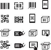 QR Bar code icons set. Scan coding, sticker identification.