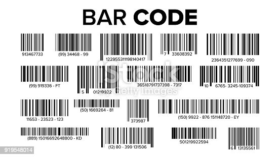 istock Bar Code Set Vector. Universal Product Scan Code. Isolated Illustration 919548014
