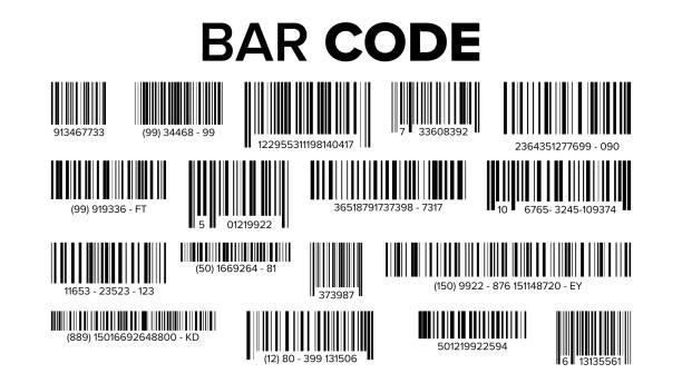zestaw kodów kreskowych wektor. uniwersalny kod skanowania produktu. ilustracja izolowana - bar lokal gastronomiczny stock illustrations