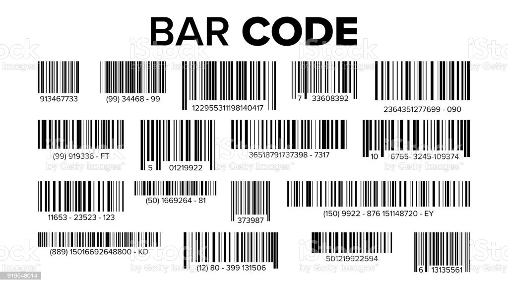 Bar Code Set Vector. Universal Product Scan Code. Isolated Illustration vector art illustration
