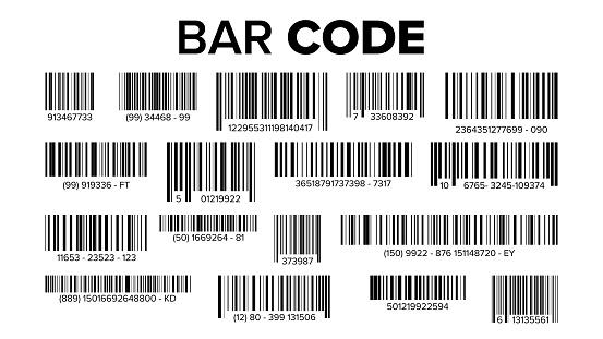 Bar Code Set Vector Universal Product Scan Code Isolated Illustration - Stockowe grafiki wektorowe i więcej obrazów Bar - Lokal gastronomiczny