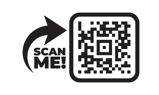 Scan me icon with QR code. Qrcode tempate for mobile app