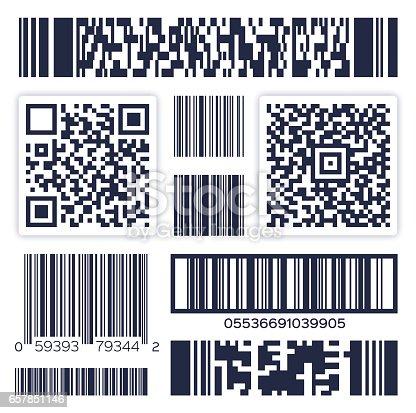Bar codes and abstract QR code symbols.