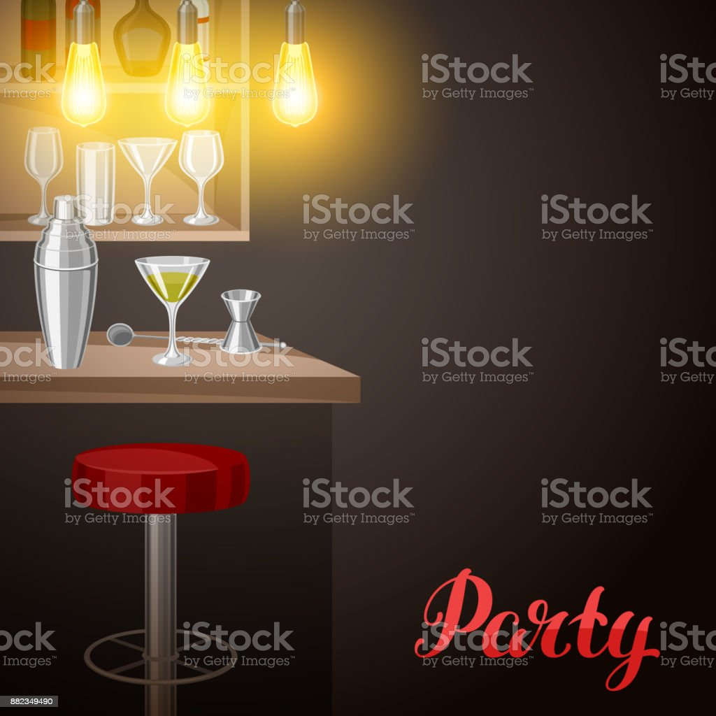 Bar counter in pub or night club. Illustration of interior with accessories, beverages and cocktails vector art illustration