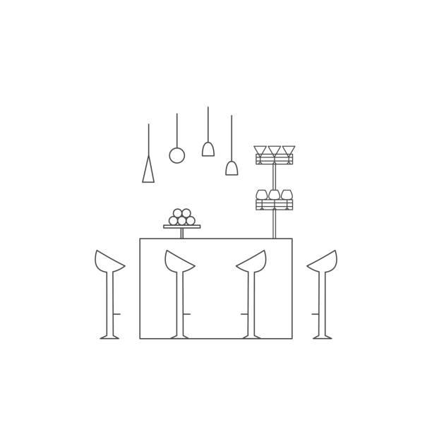 ilustrações de stock, clip art, desenhos animados e ícones de bar counter line vector illustration. - kitchen counter