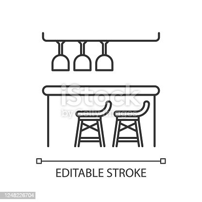 istock Bar counter pixel perfect linear icon. Thin line customizable illustration. Night club, bar, pub contour symbol. Alcohol drinks sale. Vector isolated outline drawing. Editable stroke 1248226704