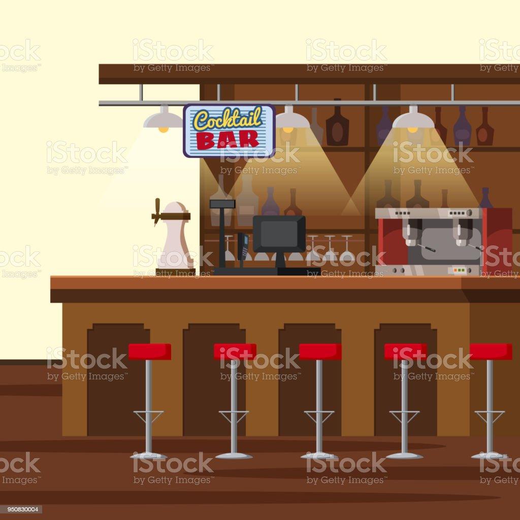 Bartheke Pub Tap Zapfanlage Stühle Regale Mit Alkoholflaschen Pub ...