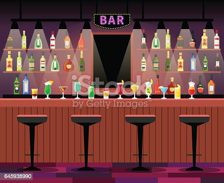istock Bar counter with alcohol drinks 645938990