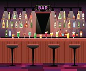 Bar counter with stools before it, and alcohol cocktails and bottles on the shelves. Vector illustration