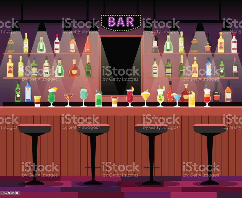 Bar counter with alcohol drinks vector art illustration