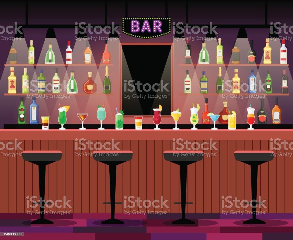 Bar balcão com bebidas de álcool - ilustração de arte em vetor