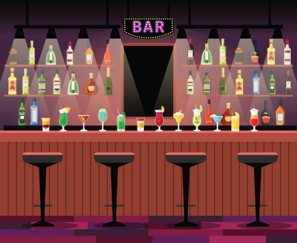stockillustraties, clipart, cartoons en iconen met toog met alcohol drankjes - bar tapkast