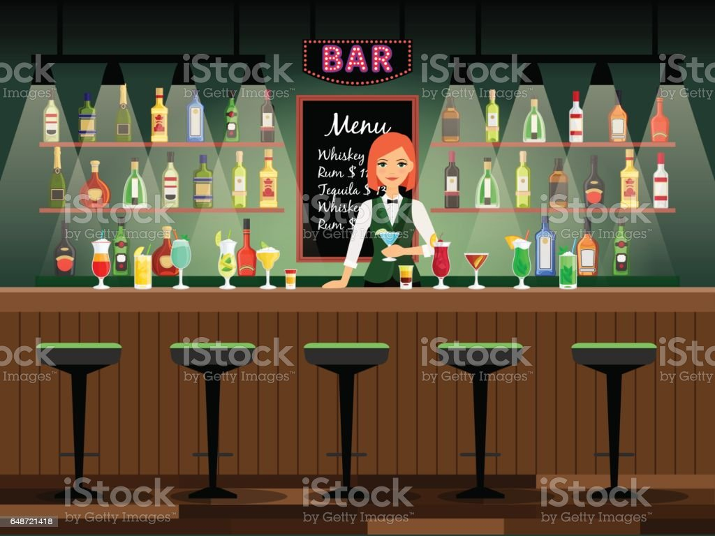 Bar counter with bartender lady vector art illustration