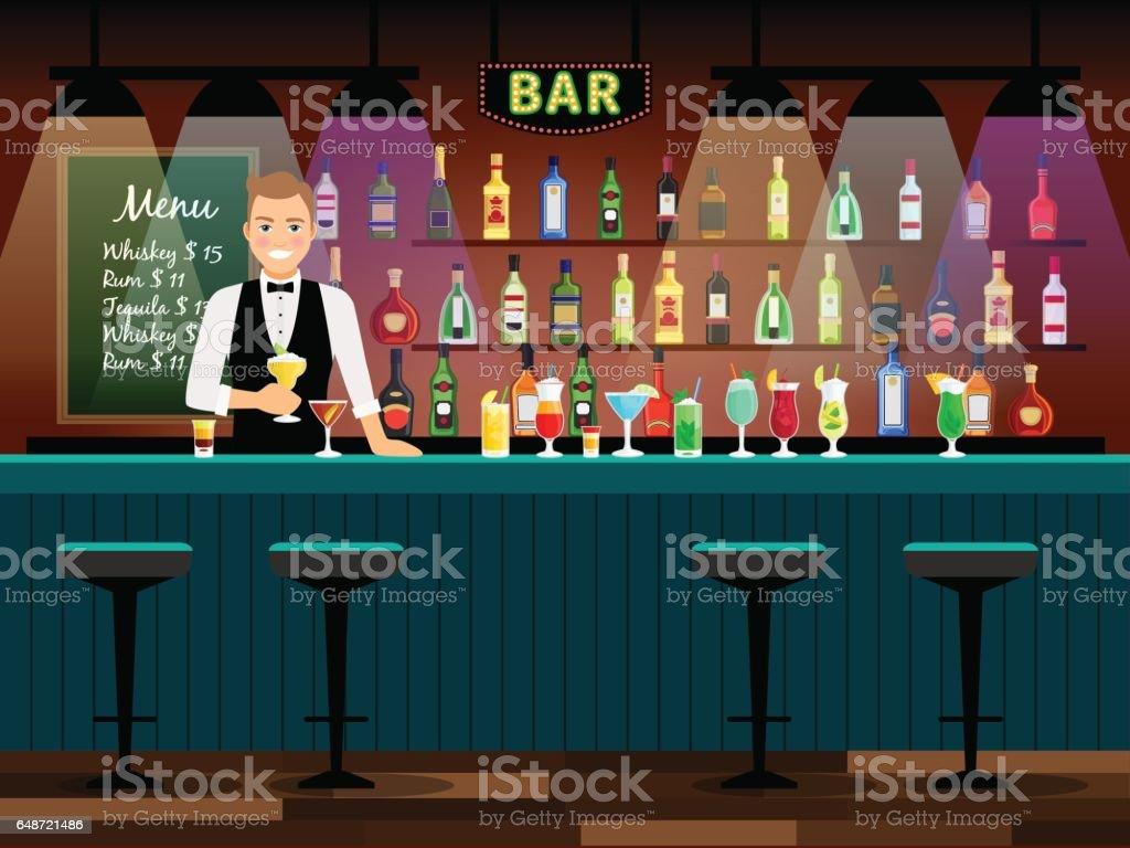 Bartheke Mit Barkeeper Stock Vektor Art und mehr Bilder von Ale ...