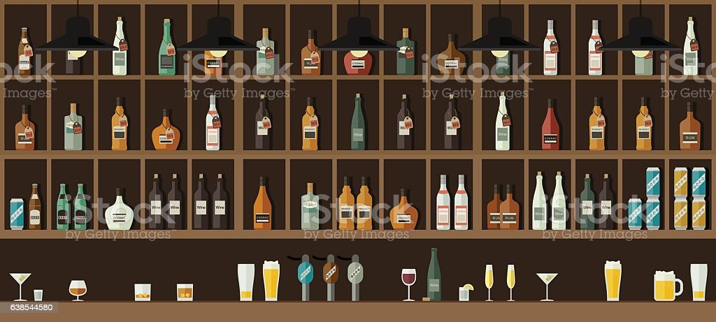 Bar counter with drinks vector art illustration