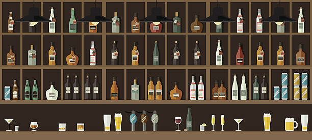 Bar counter with drinks - Illustration vectorielle