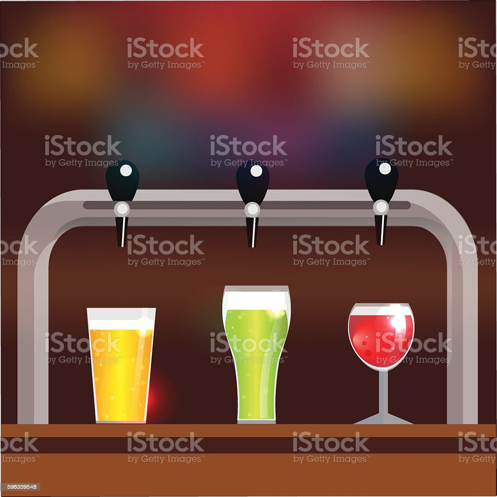 Bar counter with three glasses of beer or cider royalty-free bar counter with three glasses of beer or cider stock vector art & more images of advertisement