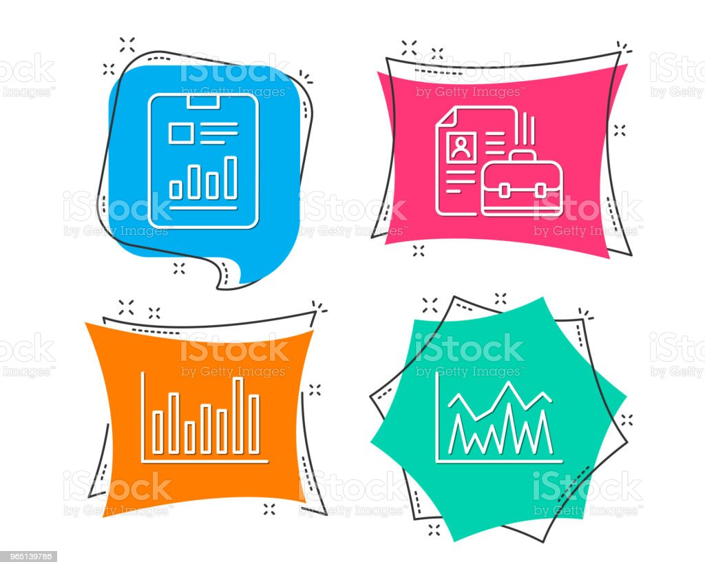 Bar diagram, Report document and Vacancy icons. Investment sign. royalty-free bar diagram report document and vacancy icons investment sign stock illustration - download image now