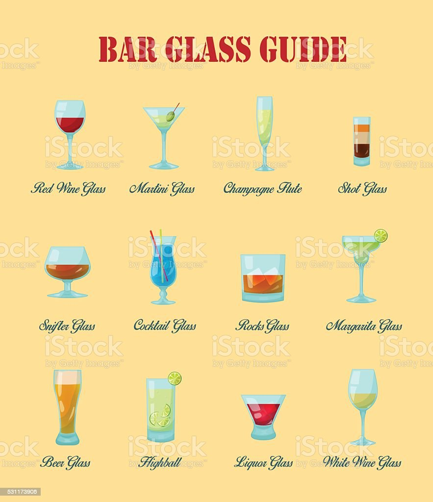 Nice Bar Glass Guide Collection Bar Glasses Vector Art Illustration