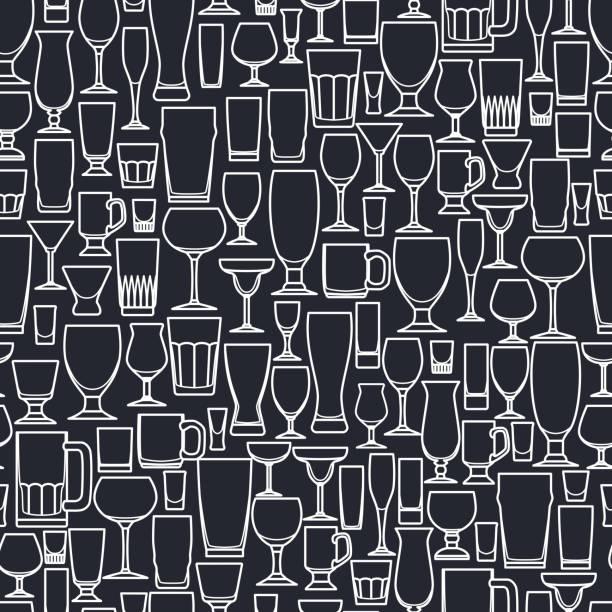 bar glass pattern - alcohol drink patterns stock illustrations