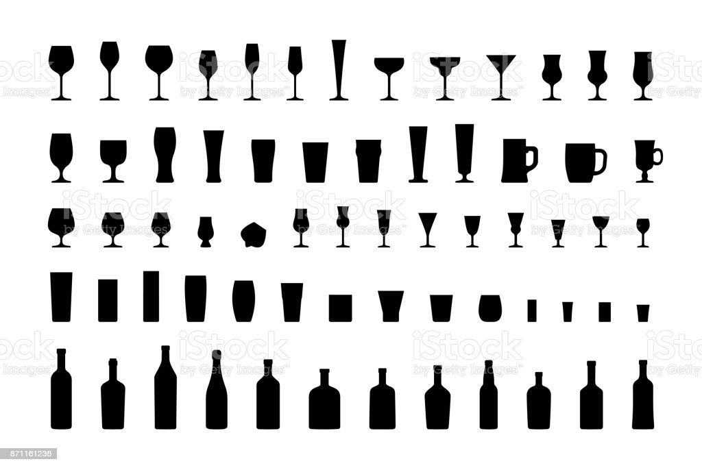 Bar glasses and bottles, icon set black silhouettes. Vector vector art illustration