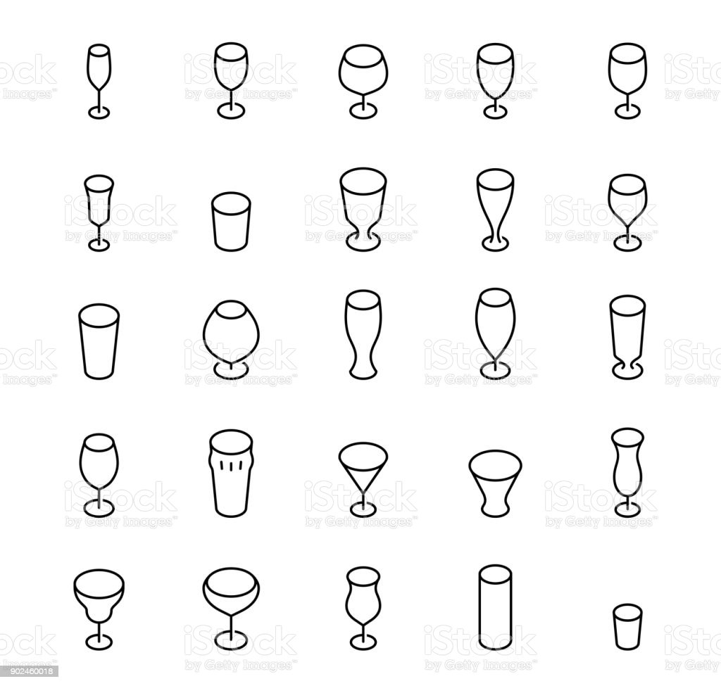Bar glasses vector icon set in thin line style vector art illustration