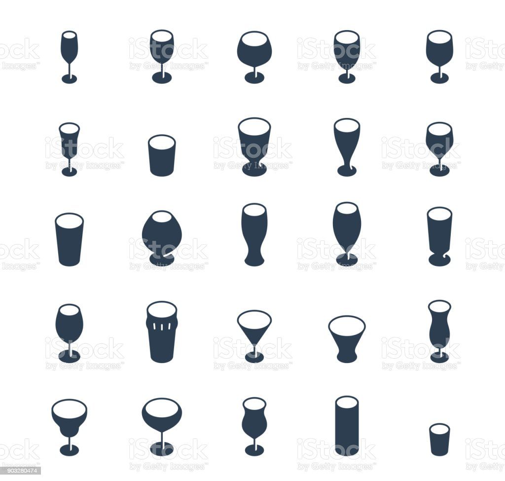 Bar glasses vector icon set vector art illustration