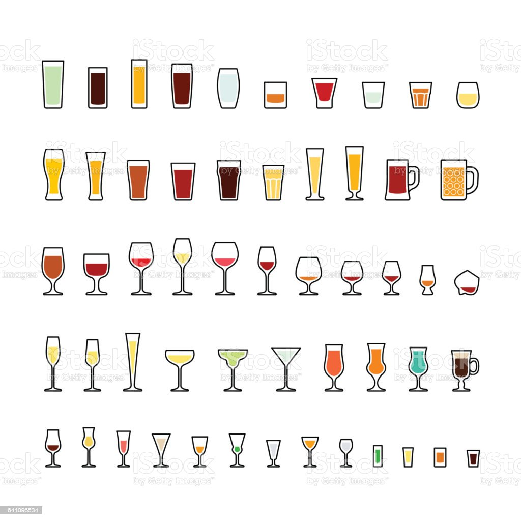 Bar glassware colorful icons set vector art illustration