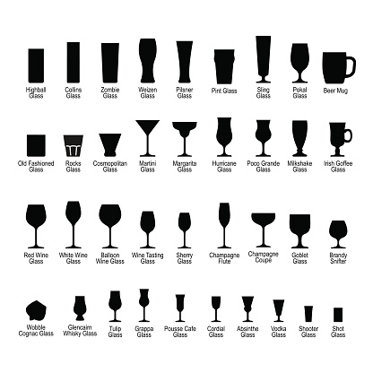 Bar glassware with names, black silhouette icons set