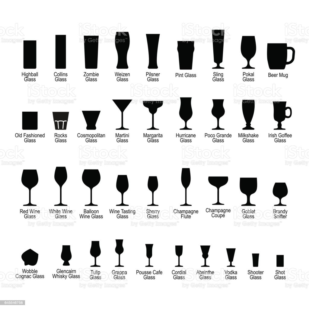 Bar glassware with names, black silhouette icons set vector art illustration