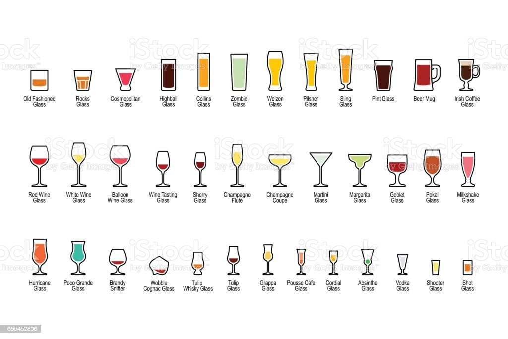 Bar glassware with titles, color icons set vector art illustration