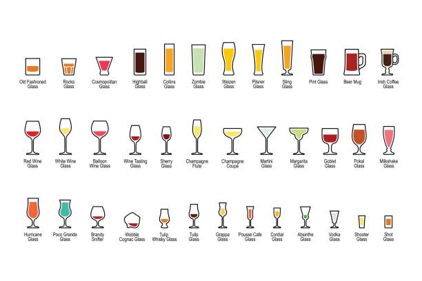 Bar glassware with titles, color icons set Bar glassware with titles, color icons set, vector illustration. martini glass stock illustrations