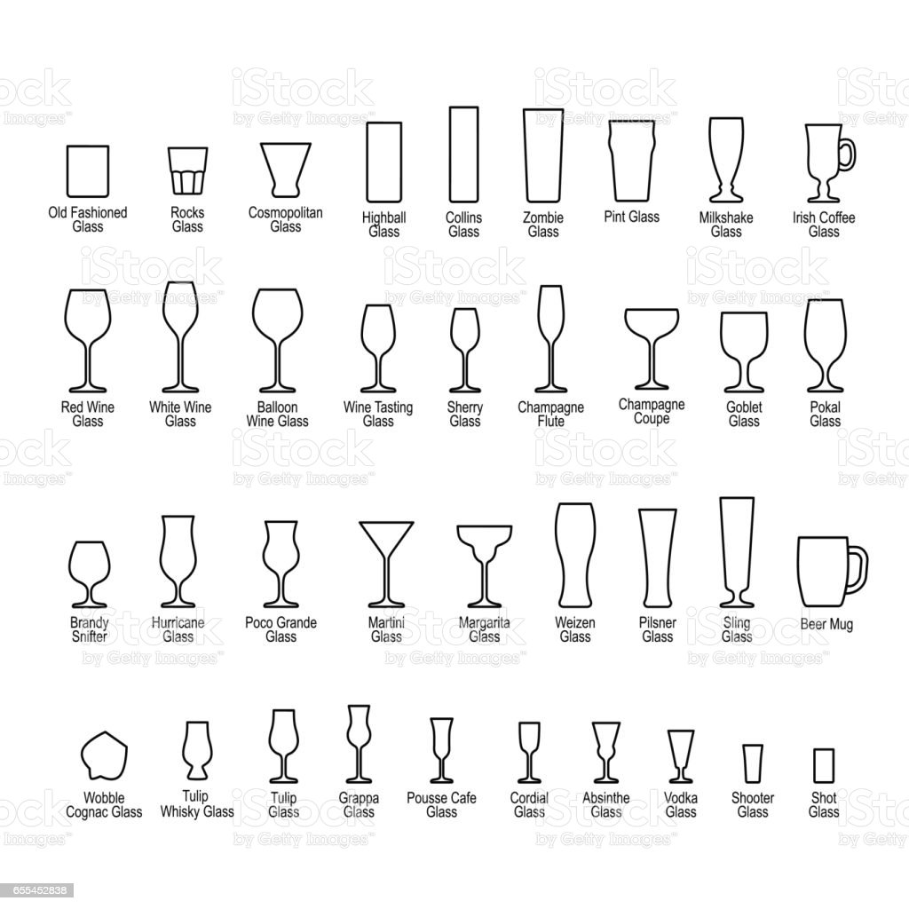 Bar glassware with titles, line icons set vector art illustration