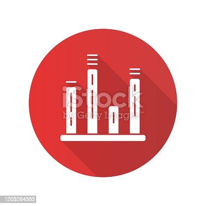 Gráfico de gráfico sino ícone longo gliph sombra. Diagrama. Gráfico de linha. Visualização de dados. Representação simbólica da informação. Comparações entre categorias discretas. Ilustração da silhueta vetorial