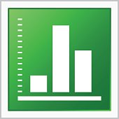 Illustration includes a white, Bar Graph icon on a green, square shape, color button on a white background.