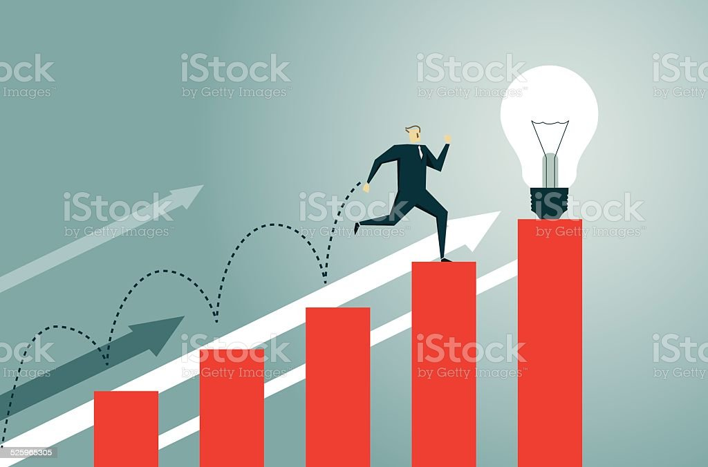 Bar Graph, Jumping, Breaking New Ground, Stock Market, Success vector art illustration