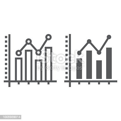 Bar Graph line and glyph icon, growth and chart, histogram sign, vector graphics, a linear pattern on a white background, eps 10.