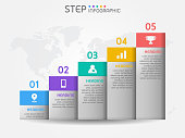 istock Bar graph shape elements of chart,diagram with steps,options,processes or workflow. Business data visualization. 1199156163