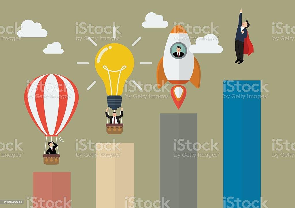 Bar graph with businessmen startup vector art illustration
