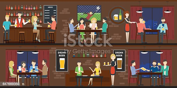 Bar interior set with visitors and bartenders.