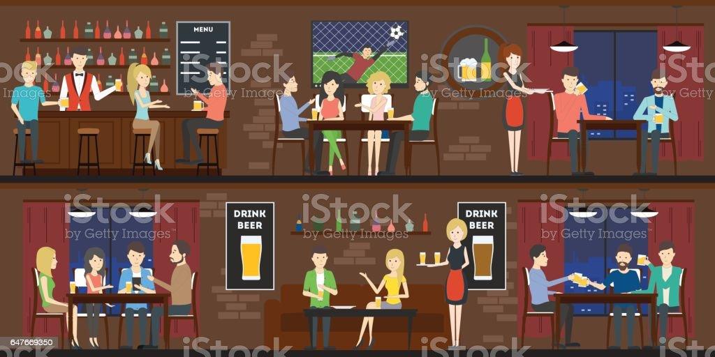 Bar interior em conjunto com visitantes e bartenders. - ilustração de arte em vetor