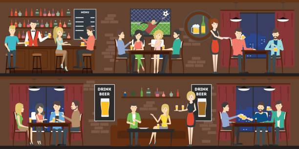 Bar interior set with visitors and bartenders. vector art illustration