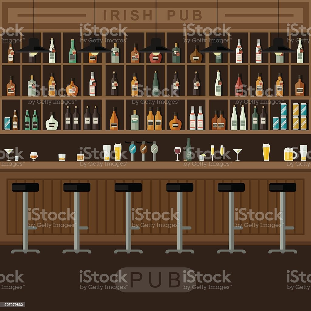 Bar interior with counter. vector art illustration