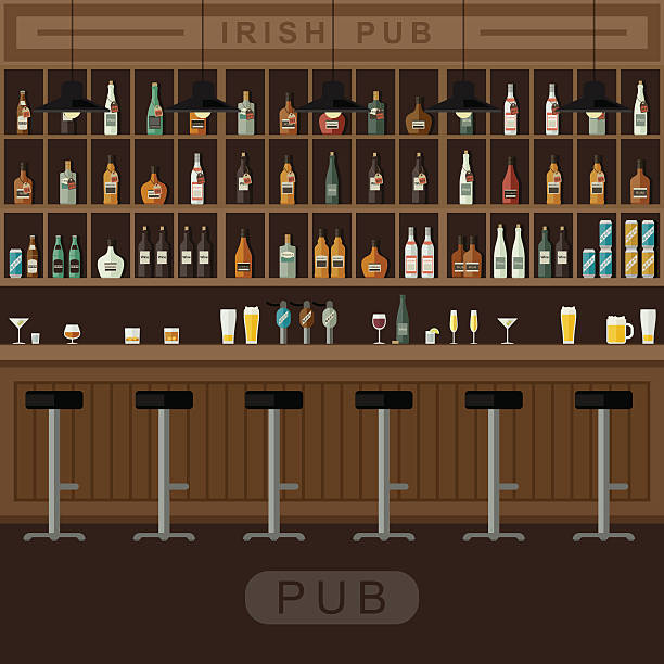 bildbanksillustrationer, clip art samt tecknat material och ikoner med bar interior with counter. - pub