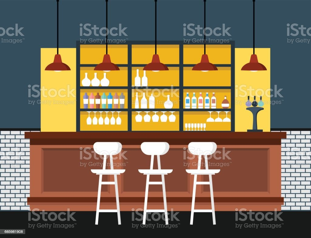 Bar interior with counter. Vector illustration. vector art illustration