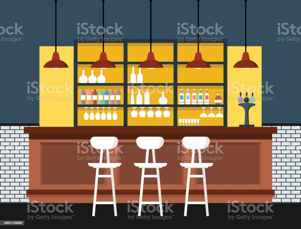 Bar interior with counter. Vector illustration.