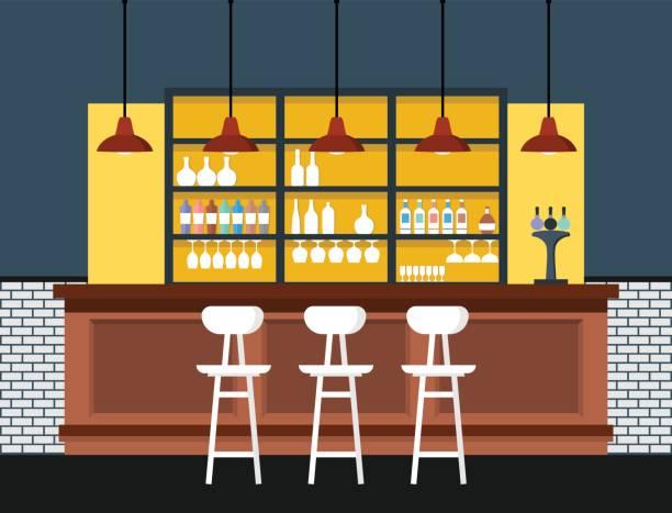 Bar interior with counter. Vector illustration. vector art illustration